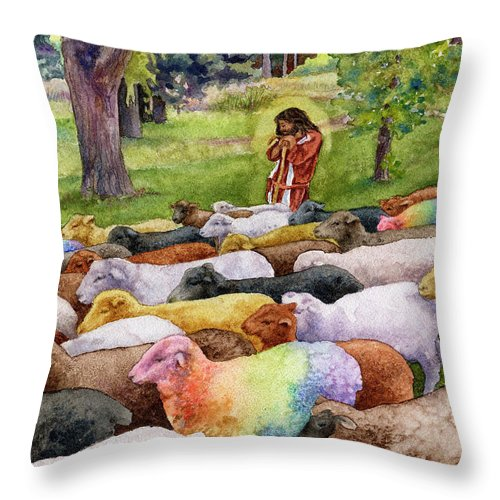 Jesus Painting Throw Pillow featuring the painting The Good Shepherd by Anne Gifford