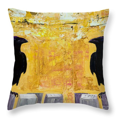 Abstract Realism Throw Pillow featuring the painting The Gossips by Pat Saunders-White