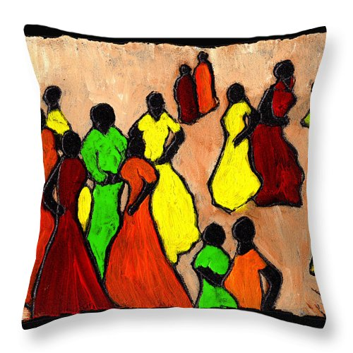 Women Throw Pillow featuring the painting The Gossips by Wayne Potrafka