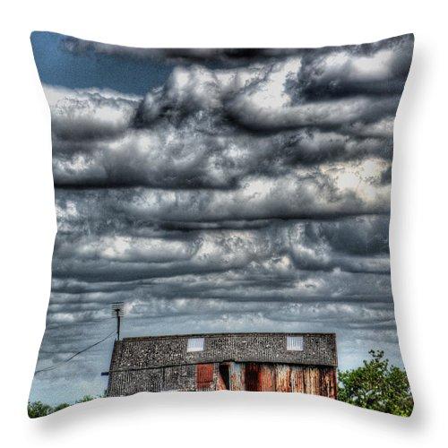 Rats Castle Throw Pillow featuring the digital art The Grain Barn by Nigel Bangert