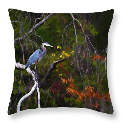 Animal Throw Pillow featuring the photograph The Great Blue Heron by Lana Trussell