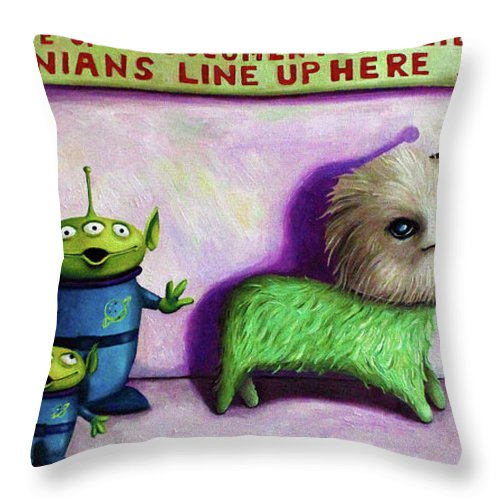 Alien Throw Pillow featuring the painting The Great Escape From Arizona by Leah Saulnier The Painting Maniac