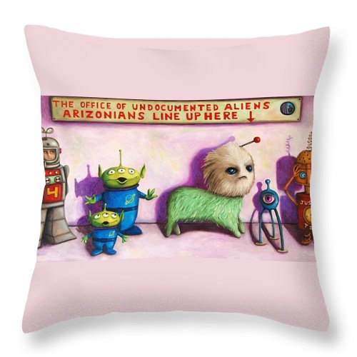 Robot Throw Pillow featuring the painting The Great Escape From Arizona by Leah Saulnier The Painting Maniac