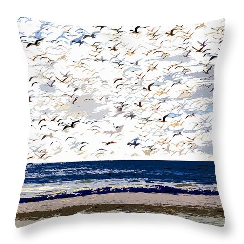 Birds Throw Pillow featuring the painting The Great Flock by David Lee Thompson