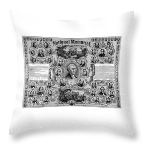 American History Throw Pillow featuring the mixed media The Great National Memorial by War Is Hell Store