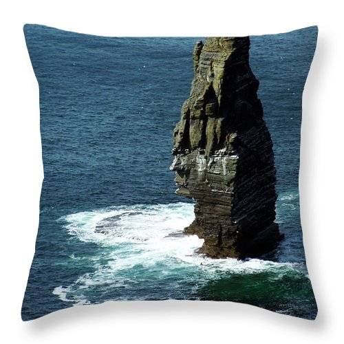 Irish Throw Pillow featuring the photograph The Great Sea Stack Brananmore Cliffs Of Moher Ireland by Teresa Mucha