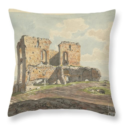 Throw Pillow featuring the drawing The Great Villa Of The Quintilii On The Appian Way by Carlo Labruzzi