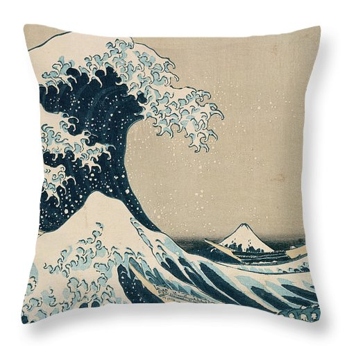 Wave Throw Pillow featuring the painting The Great Wave of Kanagawa by Hokusai