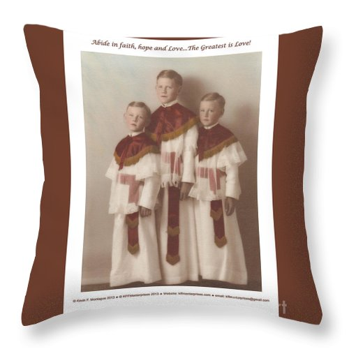 Holy Throw Pillow featuring the painting The Greatest Is Love by Kevin Montague