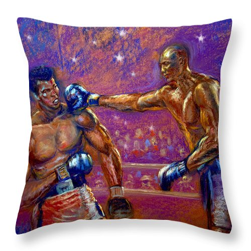Boxing Throw Pillow featuring the pastel the Greatest Muhammed Ali vs Jack Johnson by Tommy Winn