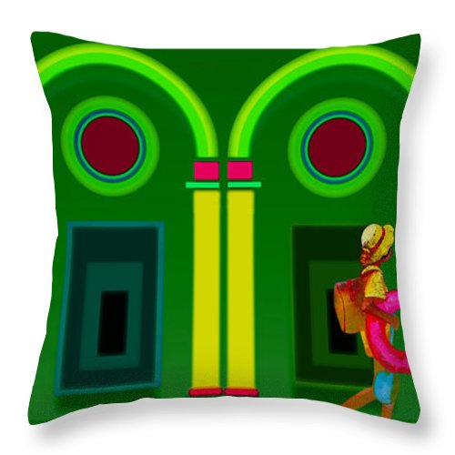 Classical Throw Pillow featuring the digital art The Green Door by Charles Stuart