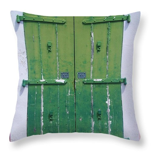 Architecture Throw Pillow featuring the photograph The Green Door by Debbi Granruth