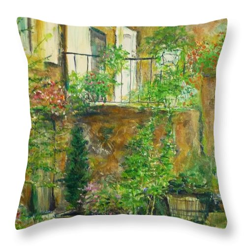 Stone Throw Pillow featuring the painting The Green Door by Lizzy Forrester
