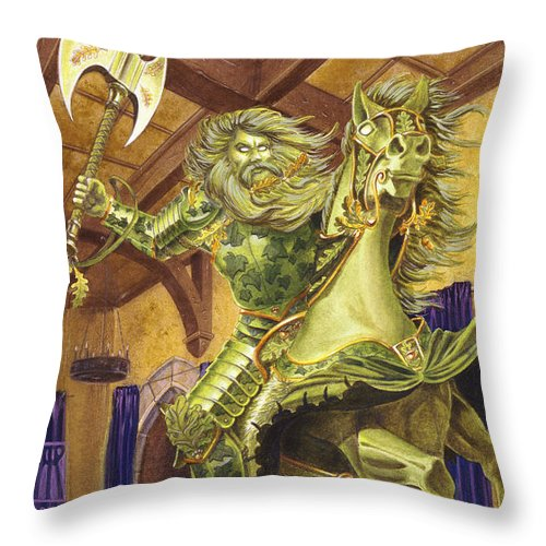 Fine Art Throw Pillow featuring the painting The Green Knight by Melissa A Benson