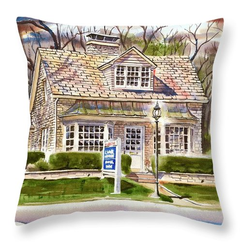The Greystone Inn In Brigadoon Throw Pillow featuring the painting The Greystone Inn In Brigadoon by Kip DeVore
