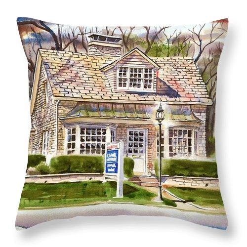 The Greystone Inn In Brigadoon Throw Pillow featuring the painting The Greystone Inn In Brigadoon by Kip DeVore