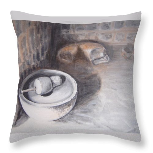 Grinding Throw Pillow featuring the painting The Grinding Stone by Usha Shantharam