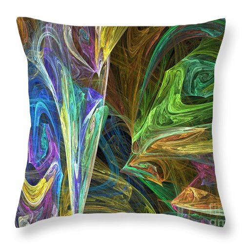 Fractals Throw Pillow featuring the digital art The Groove by Richard Rizzo