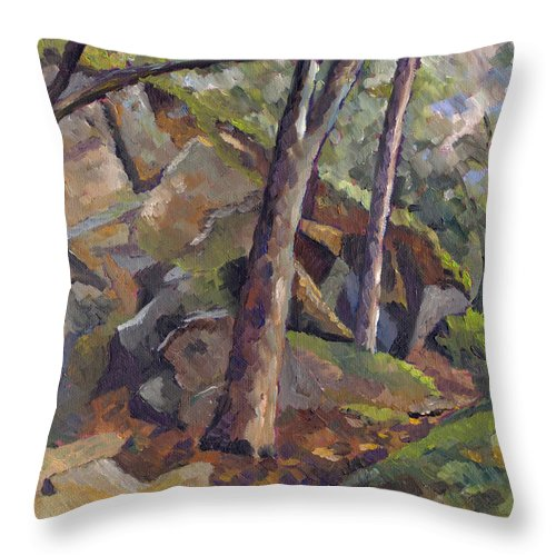 Impressionism Throw Pillow featuring the painting The Grotto by Don Perino