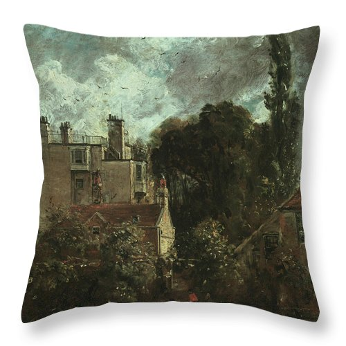 English Romantic Painters Throw Pillow featuring the painting The Grove Or The Admiral's House In Hampstead by John Constable