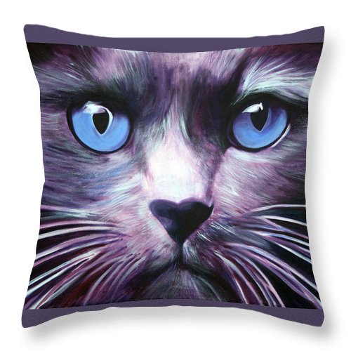 Cats Throw Pillow featuring the painting The Guardian by Fiona Jack