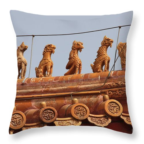 Guard Throw Pillow featuring the photograph The Guardians Of The Forbidden City by Carol Groenen