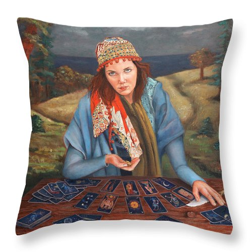 Figurative Art Throw Pillow featuring the painting The Gypsy Fortune Teller by Enzie Shahmiri