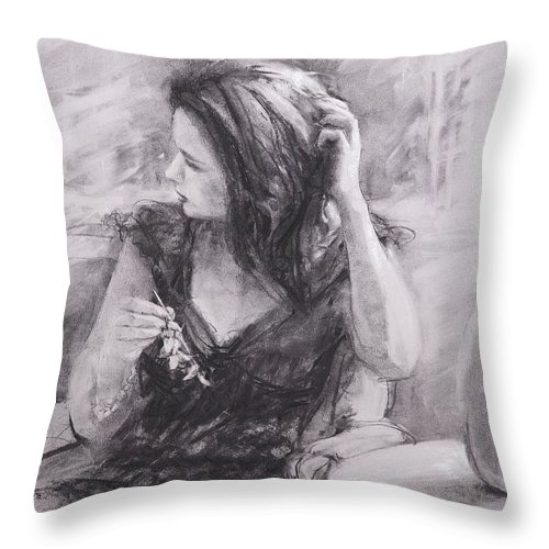 Woman Throw Pillow featuring the painting The Hairpin by Steve Henderson