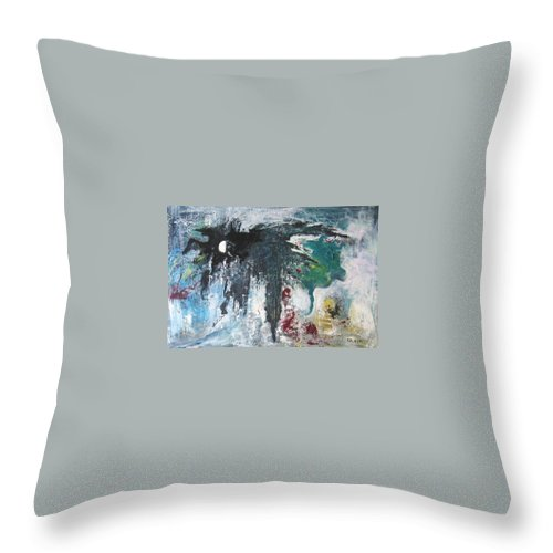 Abstract Paintings Throw Pillow featuring the painting The Half Moon by Seon-Jeong Kim