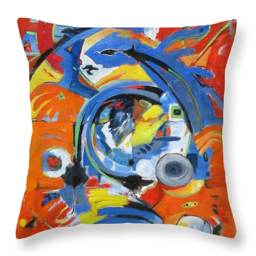 Abstract Throw Pillow featuring the painting The Hand Moves by Gary Coleman