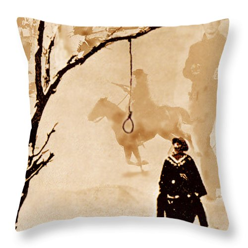 Clint Eastwood Throw Pillow featuring the digital art The Hangman's Tree by Seth Weaver