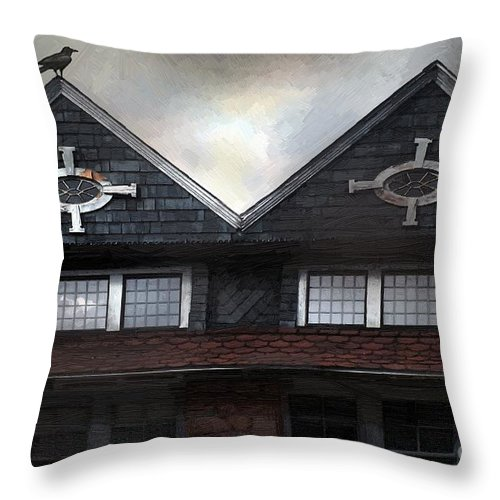 Clouds Throw Pillow featuring the painting The Harbinger by RC DeWinter