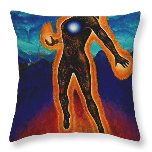 Native American Throw Pillow featuring the painting The Harvest by Kevin Chasing Wolf Hutchins