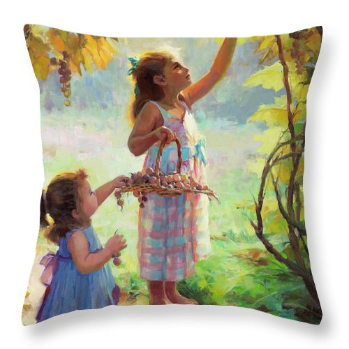 Vineyard Throw Pillow featuring the painting The Harvesters by Steve Henderson