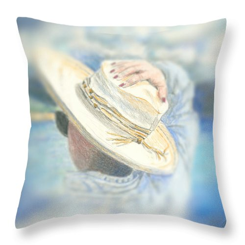 Hat Throw Pillow featuring the mixed media The Hat by Arline Wagner