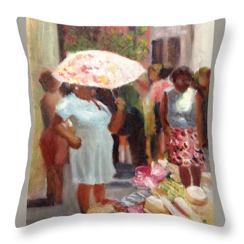Hat Throw Pillow featuring the painting The Hat Lady by Mary Marin