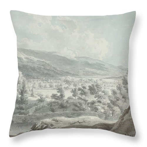 Throw Pillow featuring the drawing The Head Of Ullswater by Edward Dayes