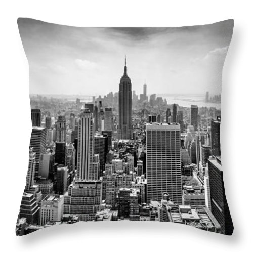 Empire State Building Throw Pillow featuring the photograph New York City Skyline Bw by Az Jackson