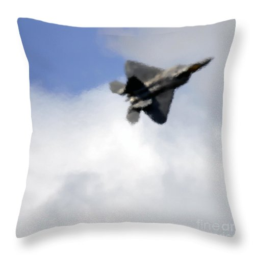 F-22 Throw Pillow featuring the photograph The Heat by Angel Ciesniarska