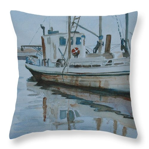 Boat Throw Pillow featuring the painting The Helen Mccoll At Rest by Jenny Armitage
