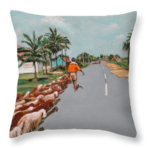 Throw Pillow featuring the painting The Herd 1 by Usha Shantharam