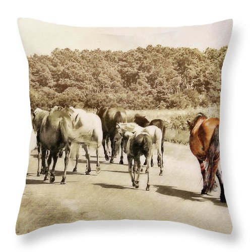 Horse Throw Pillow featuring the photograph The Herd by JAMART Photography