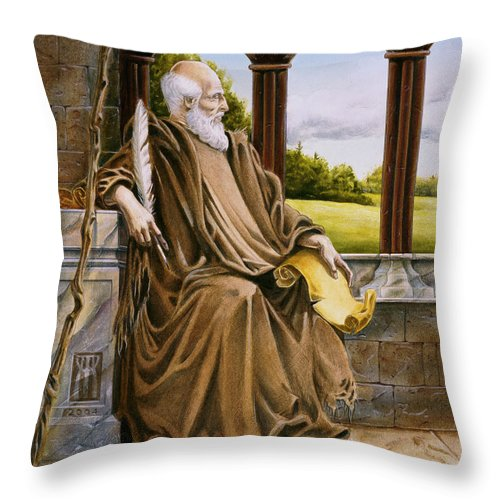 Wise Man Throw Pillow featuring the painting The Hermit Nascien by Melissa A Benson