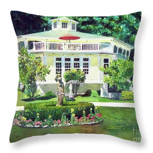 House Paintings Throw Pillow featuring the painting The Hexagon House, Bed And Breakfast, House Painting by LeAnne Sowa