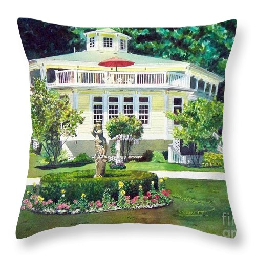 Houses Throw Pillow featuring the painting The Hexagon House by LeAnne Sowa