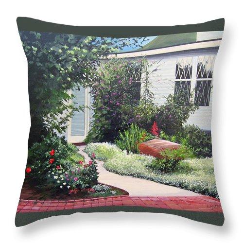 Garden Path Throw Pillow featuring the painting The Hidden Garden by Hunter Jay