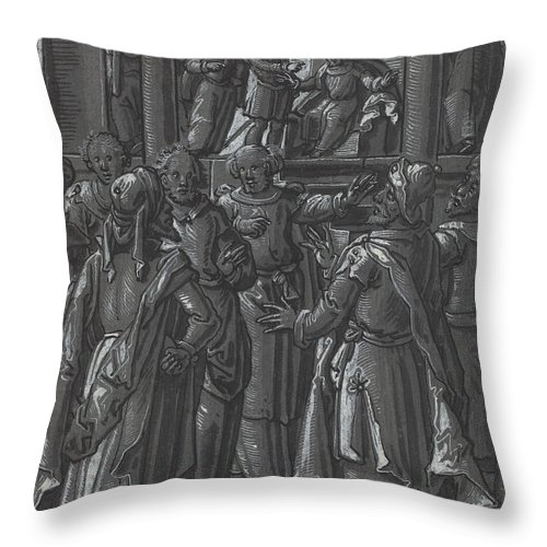 Throw Pillow featuring the drawing The High Priest Before Pilate [verso] by German 16th Century