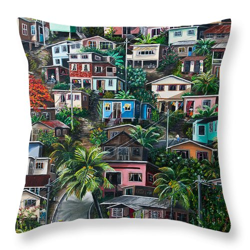 Landscape Painting Cityscape Painting Houses Painting Hill Painting Lavantille Port Of Spain Painting Trinidad And Tobago Painting Caribbean Painting Tropical Painting Caribbean Painting Original Painting Greeting Card Painting Throw Pillow featuring the painting The Hill   Trinidad by Karin Dawn Kelshall- Best
