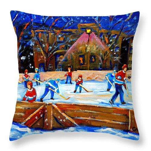 Snow Throw Pillow featuring the painting The Hockey Rink by Carole Spandau