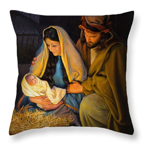 Jesus Throw Pillow featuring the painting The Holy Family by Greg Olsen